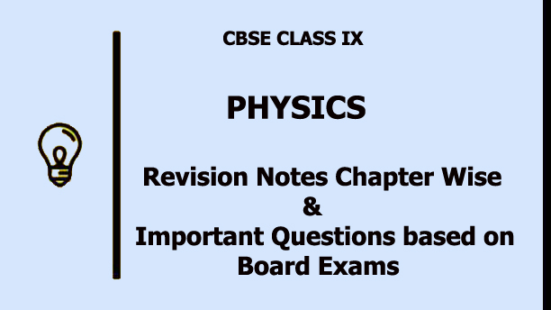 CBSE Class 9 Physics Notes | Question Bank Chapterwise