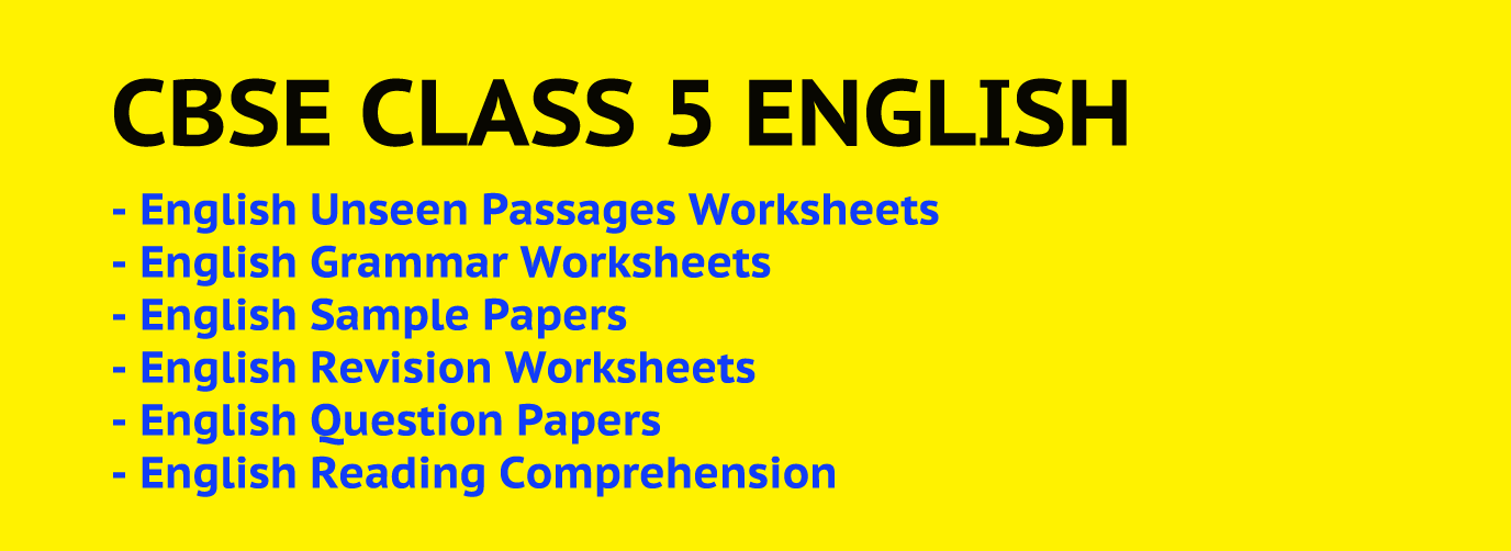 CBSE Class 5 English Worksheets