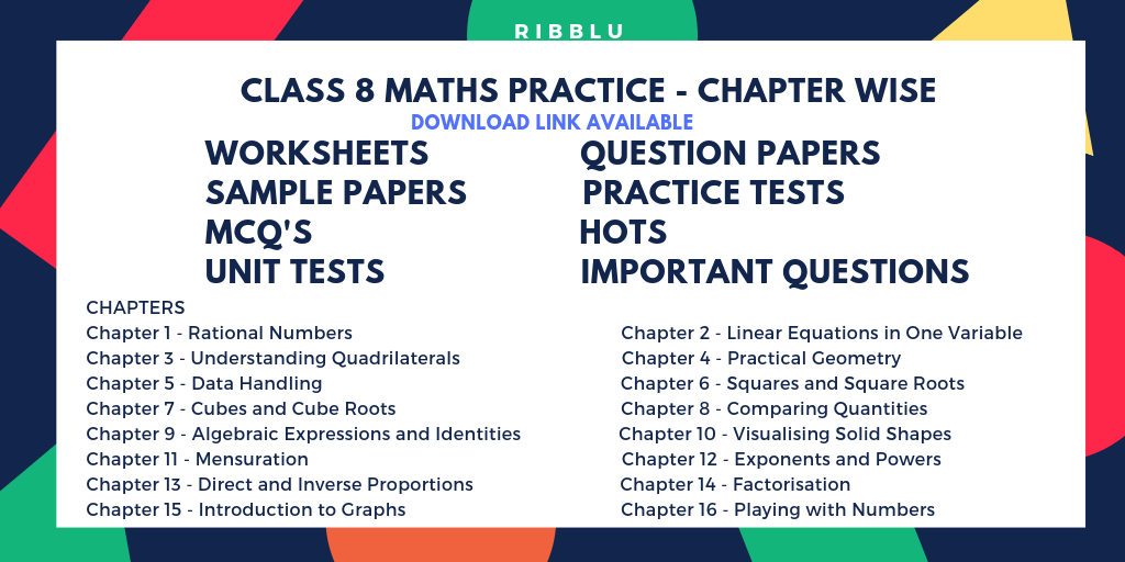 CBSE Class 8 Maths Practice – Worksheets, Question Papers