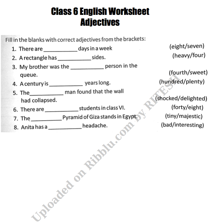 Grammar Worksheets for CBSE Class 6 English