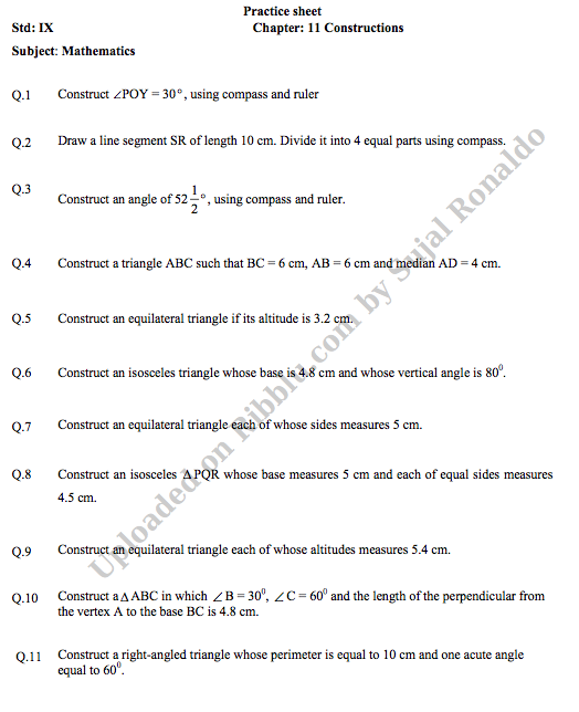 CBSE Class 9 Maths Worksheets for Academic Session 2021-22