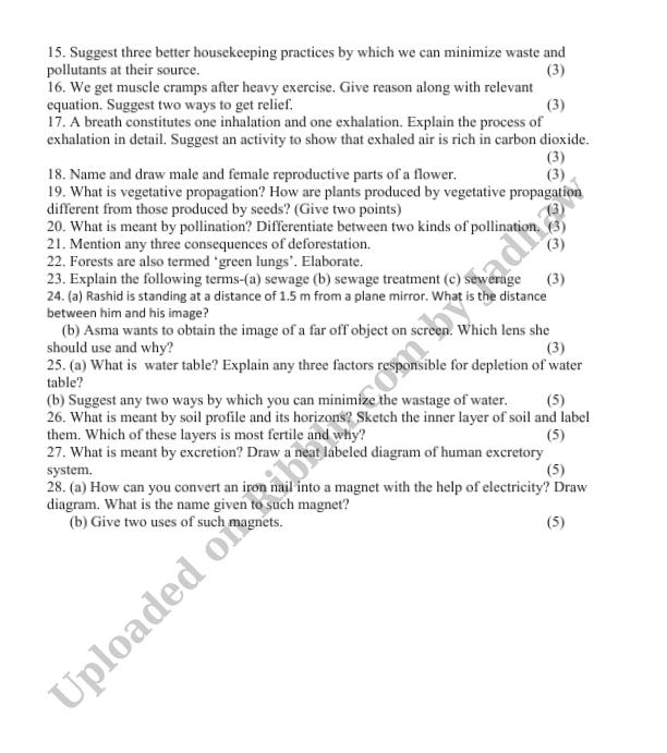 Summative Assessment Class 7 Science Question Paper
