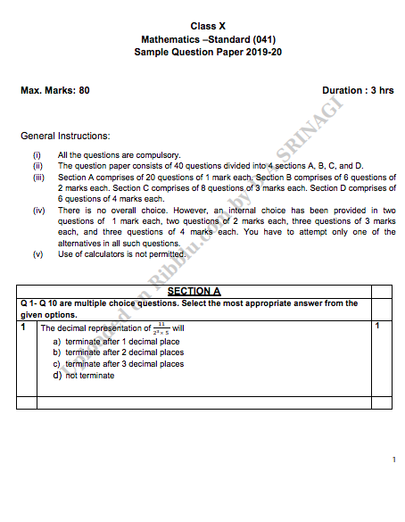 CBSE Class 10 Maths Sample Papers in PDF For Free