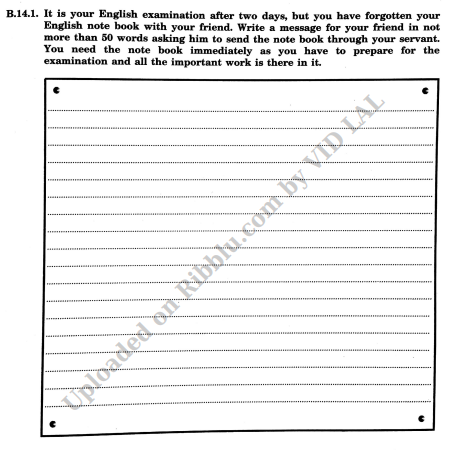 Message Writing Exercise and Questions for CBSE Class 8