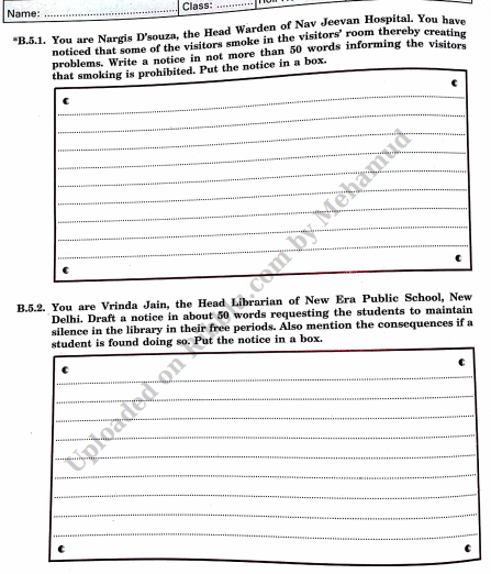 Notice Writing Format , Topics, Examples and Exercises  for CBSE Class 8