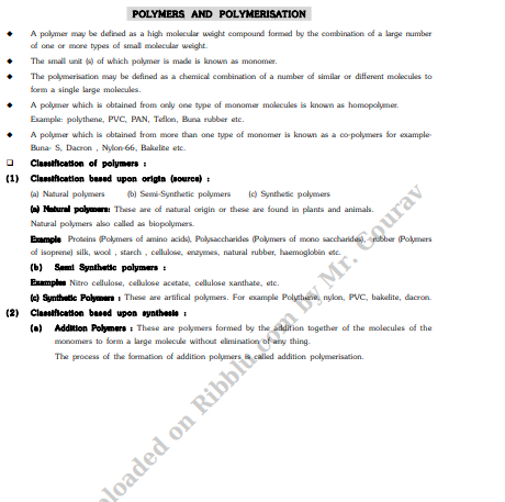 Revision Key notes of CBSE Class 12 Chemistry