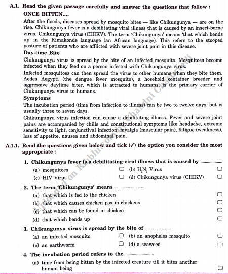 Reading Comprehension and Unseen Passage for Class 8